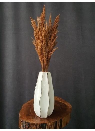 Kuru Çiçek Deposu Kuru Çiçek Şoklanmış 10'Lu Pampas Otu Karışık 60 Cm Oranj